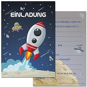 12 Einladungskarten Im Set Zum Kindergeburtstag Mit Motiv Rakete, Weltraum,  Raumschiff. Einladungen Zum