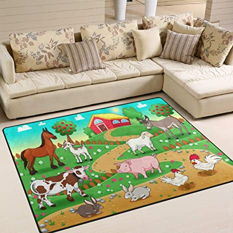 Amazon Com Alaza Cartoon Farm Animal Horse Cow Rabbit Rooster Pig Area Rug Rugs For Living Room Bedroom 7 X 5 Home Kitchen