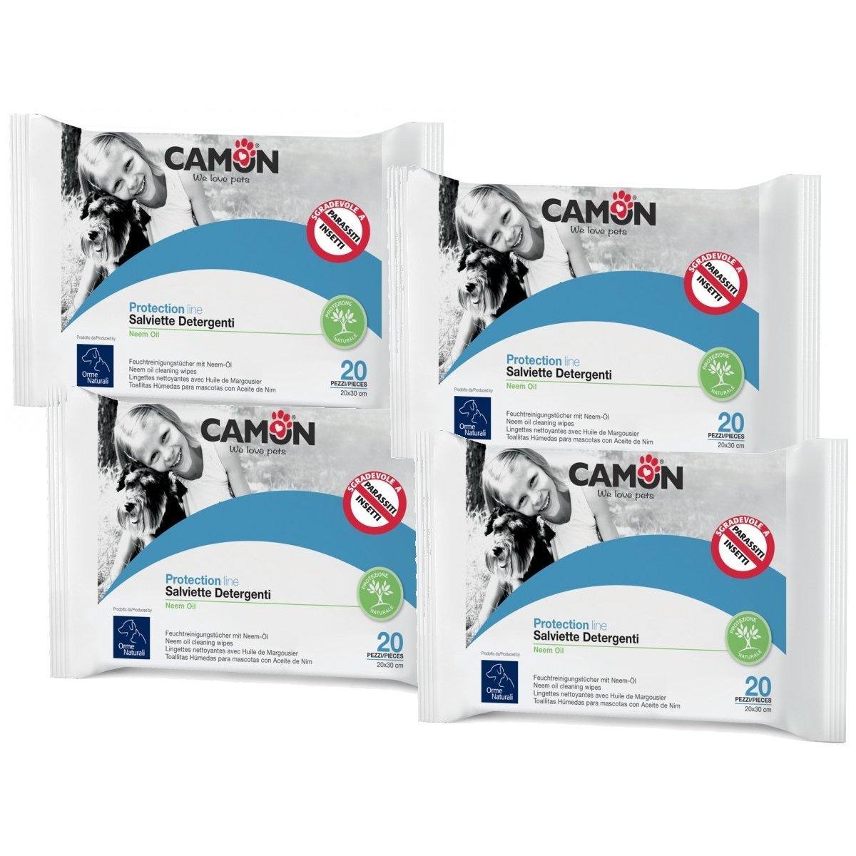Camon Toallitas Limpiadoras antiparassitarie al aceite de neem para perros y gatos 4 paquetes: Amazon.es: Productos para mascotas