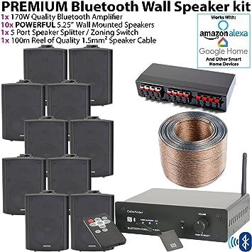 Premium calidad 10 x 90 W negro montado en la pared Kit de altavoces HiFi –