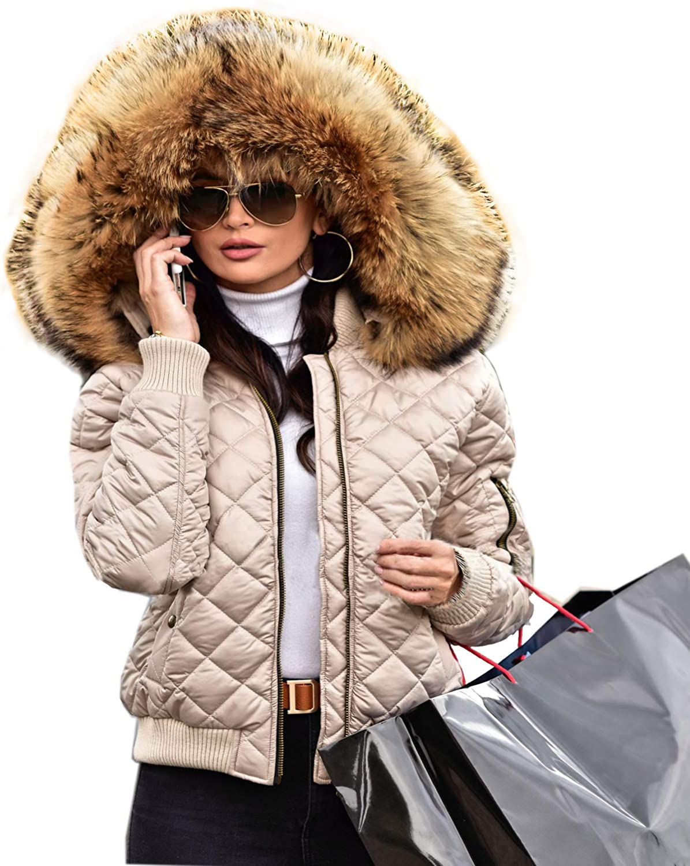 Women/'s Winter Warm Down Cotton Jacket Ladies Lightweight Slim Hooded Coat Parka