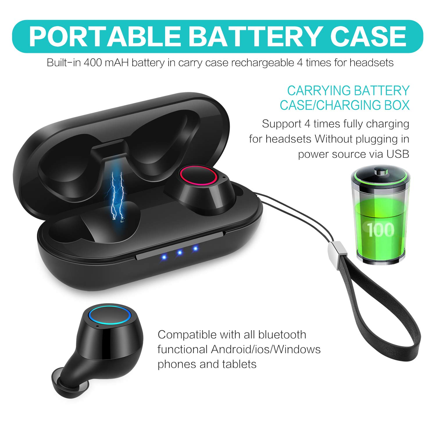 Ailicam True Wireless Earbuds TWS Bluetooth 5.0 IPX6 Waterproof 25 Hours Playtime, TWS Noise Cancelling Earphones Instant Pairing with Mic and Charging Case (Black) by Ailicam (Image #3)