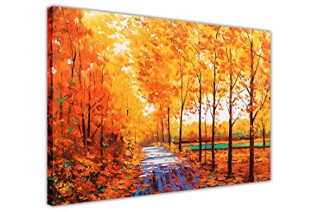 Yellow canvas wall art prints autumn trees and leafs pictures room decoration poster print oil painting