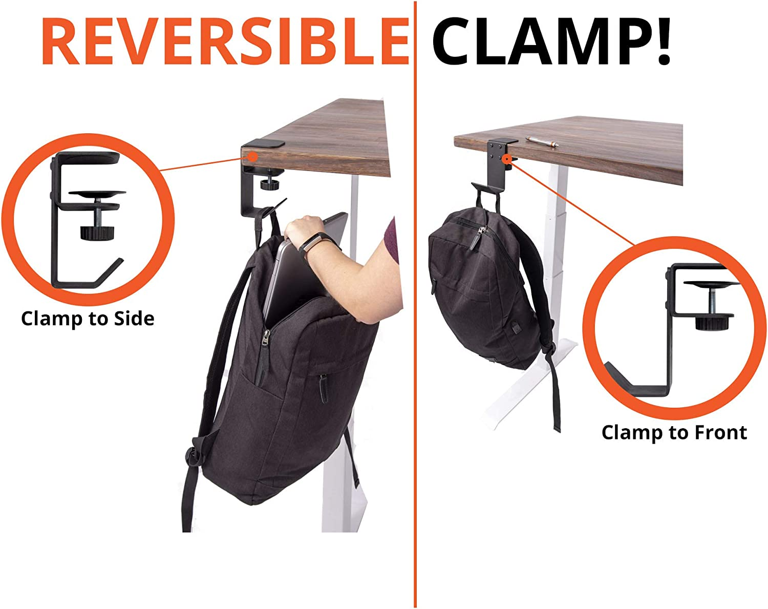 30 lb. Capacity Stand Up Desk Store Clamp-On Under Desk Headphone Holder//Backpack Hook//Purse Hook Black Provides a Convenient Place to Hang Headsets or Bags to Reduce Clutter