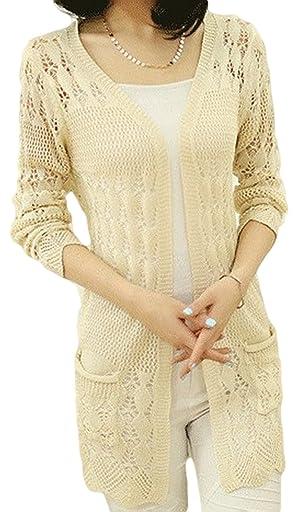 SKCUTE Sweater Knitting cardigan Long knitting casual sweater Beige