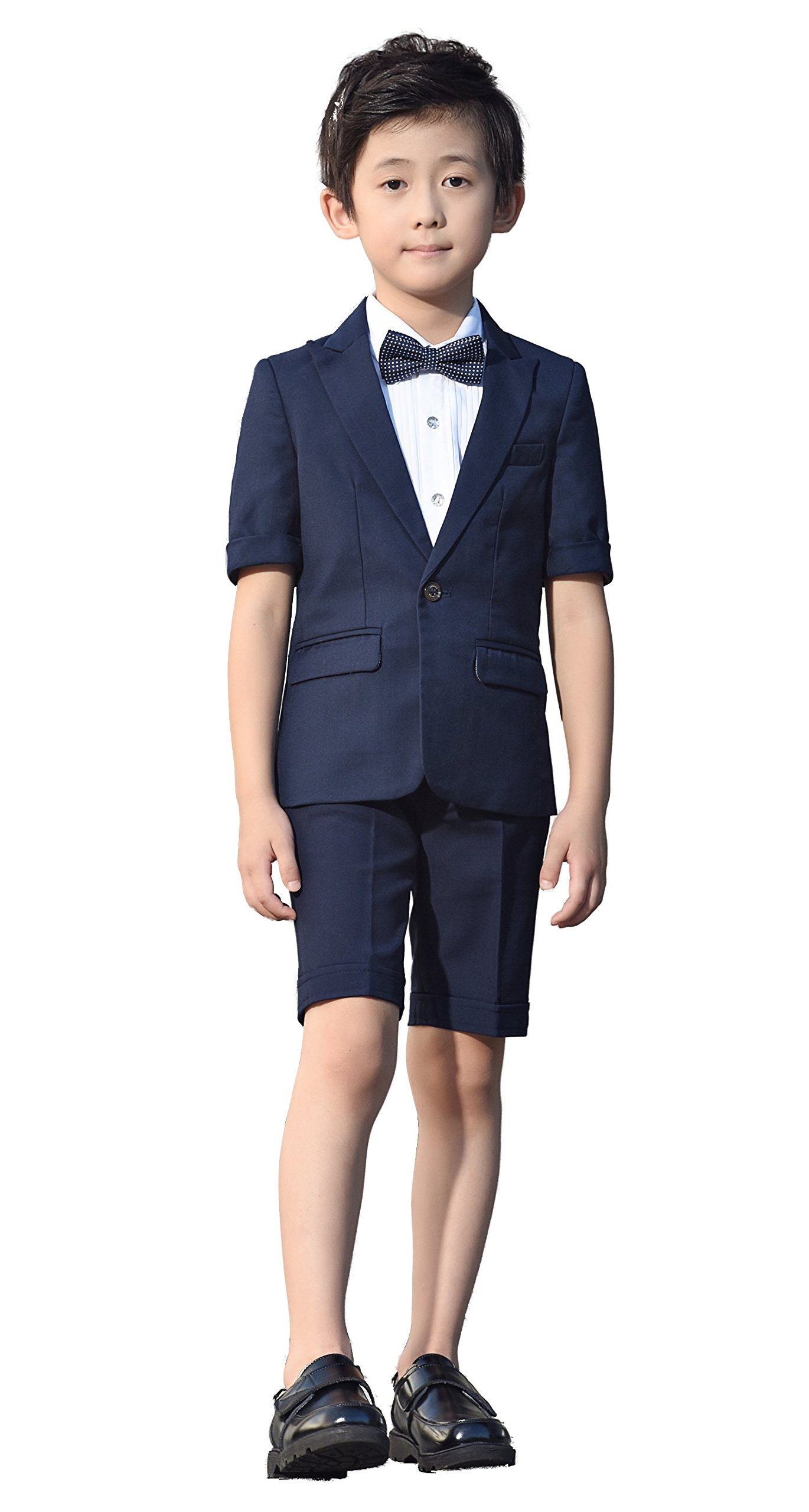 Iyan Boys Short Suits 5 Piece Slim Fit Suit for Boys Navy Blue Size 4T
