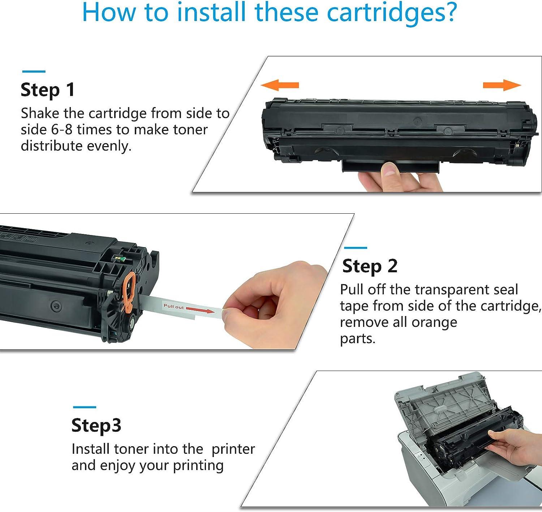 KCMYTONER Compatible Toner Cartridge Replacement for HP 36A CB436A Work with Laserjet M1522n MFP M1522nf MFP P1505 Series Printer Black 4 Pack