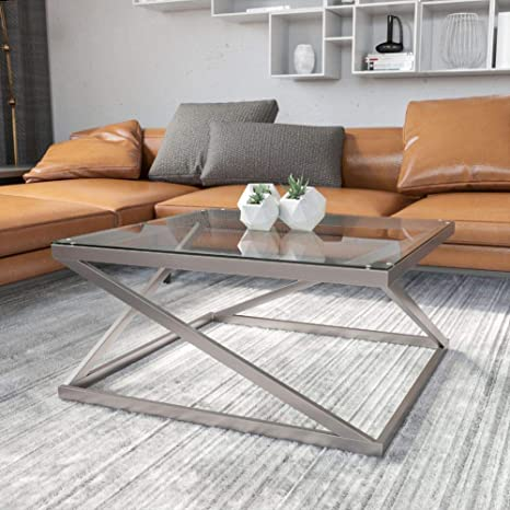Amazon Com Signature Design By Ashley Coylin Glass Top Square Coffee Table Brushed Nickel Finish Furniture Decor