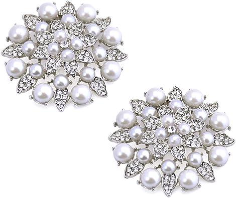 Elegantpark BK 2 Pcs Clips Amovible Perle Fleur pour Chaussures Rhinestones D/écoration de Mariage