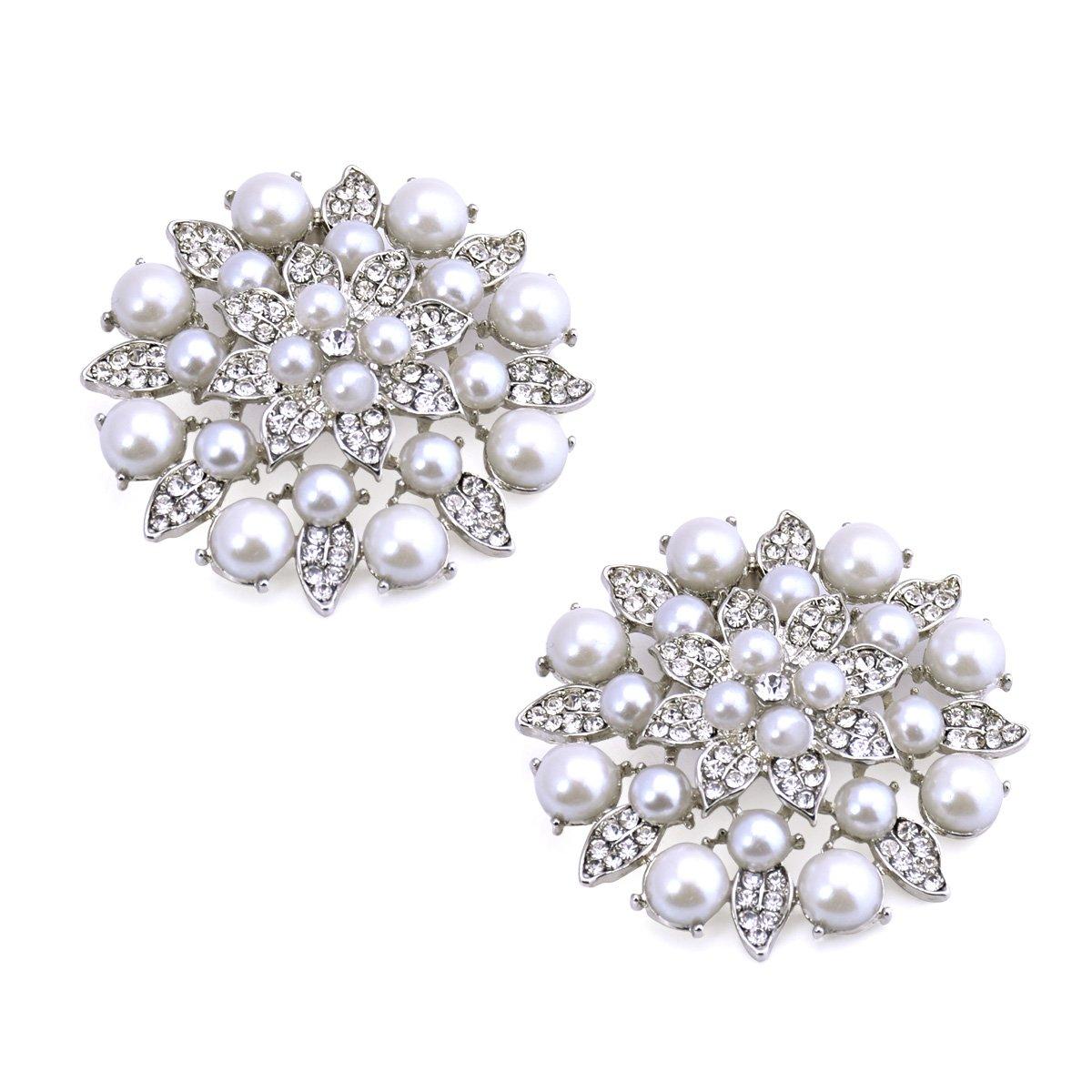 ElegantPark BK Fashion Rhinestones Pearls Women Wedding Accessories Dress Hat Shoes Clips 2 Pcs Silver