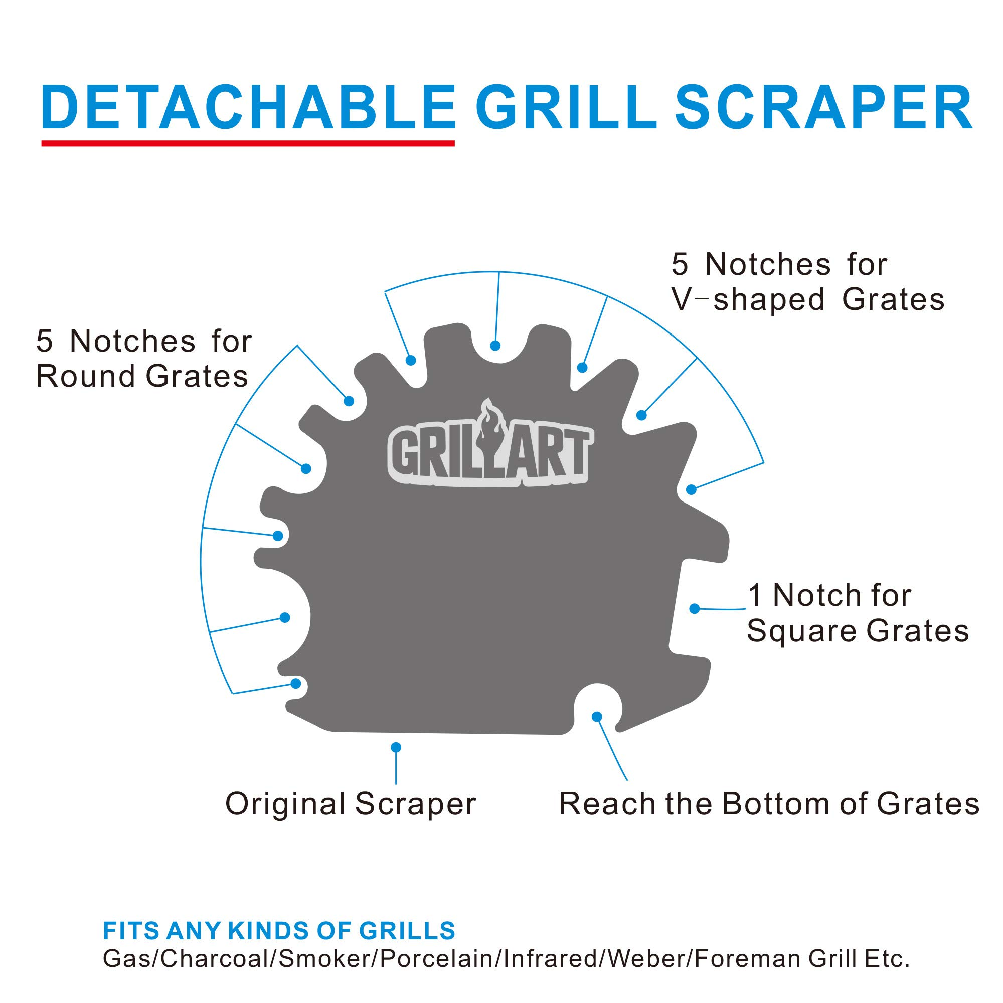 Grill Brush and Scraper Universal Fit - Adjustable BBQ Grill Accessories Cleaning Kit - 12 Grooves Safe 18'' Stainless Steel Barbecue Grill Cleaner Wizard Tools for Weber Gas/Charcoal Grilling Grates by GriIIArt (Image #3)