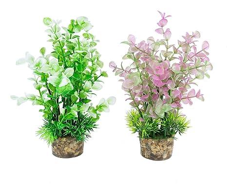 govine Acuario Plantas 2pcs Acuario Plantas Plástico para Acuario Pez Decoración