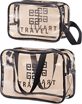 2Pcs Large Clear Makeup Bags Set, PVC Waterproof Cosmetic Toiletry Organizer Bags with Zipper, Portable Transparent Luggage Pouch for Traveling, Vacation and Bathroom