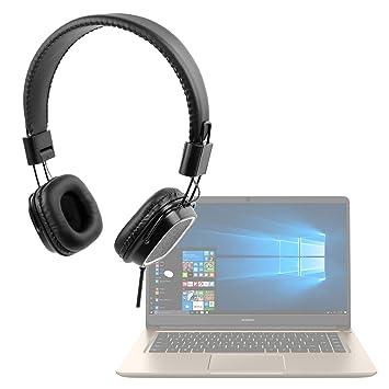 DURAGADGET Auriculares de Diadema Negros para Portátil Huawei MateBook D con Mando de Volumen y Doble Cable para Audio y micrófono. Plegables.