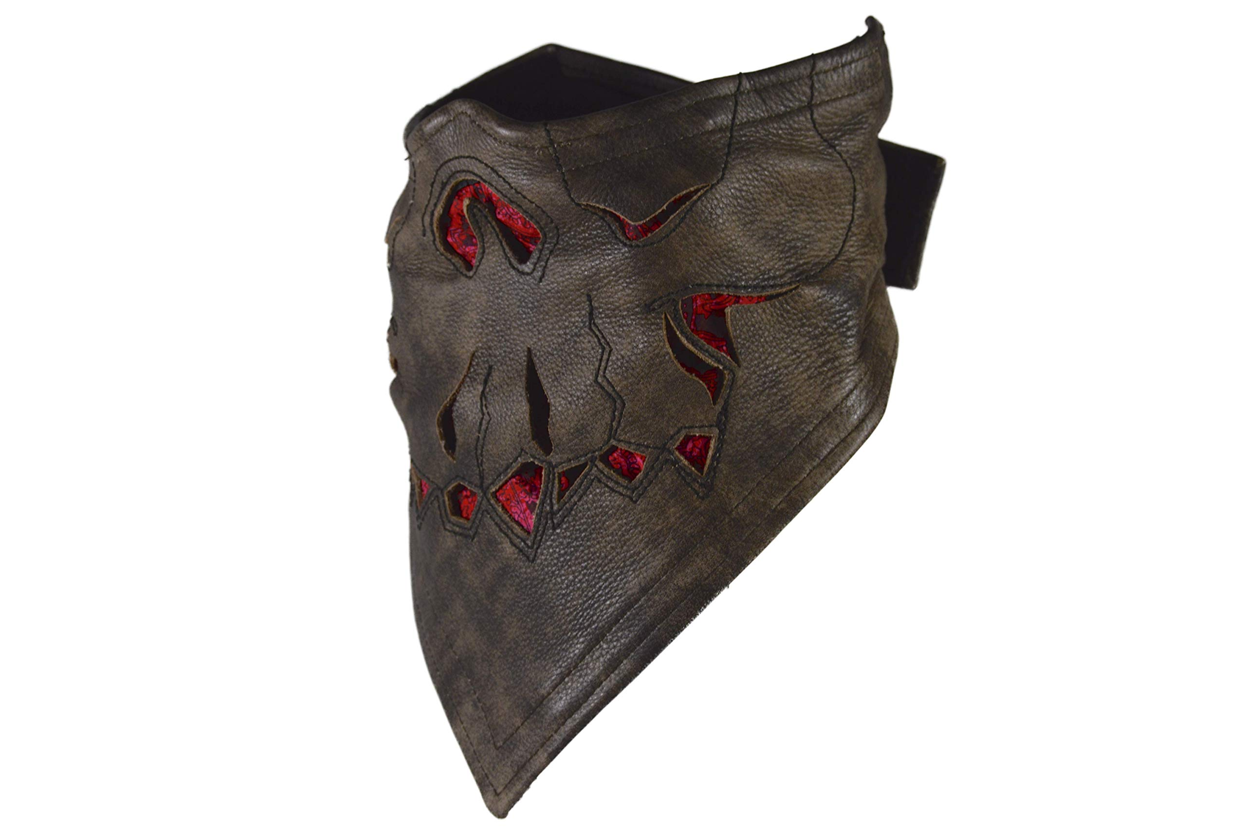 Leather Face Motorcycle Mask Leather Half Face Mask Skull Mask (Red)