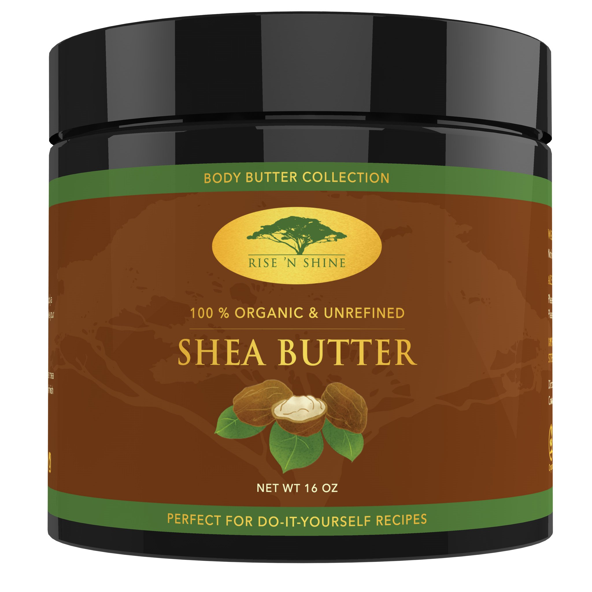 African Shea Butter Raw Organic Unrefined - Healing Body Butter for Face & Body - Deep Conditioner for Dry Skin, Hair Care, Stretch Marks, Eczema/Psoriasis Treatment, Lip and Beard Balm, Soap (16 oz) by Rise 'N Shine Online