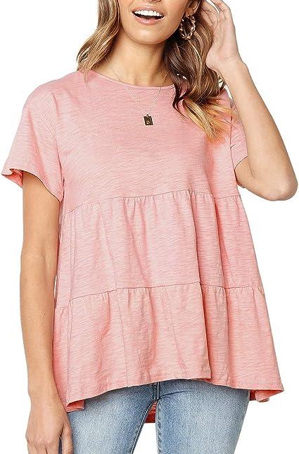 Women Summer Ruffle Hem Flounced Sleeve Cold Shoulder Tunic Shirt Tops Beach Top
