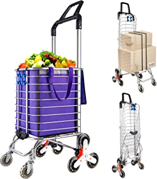 Amazon Com Portable Stair Climbing Cart With 8 Wheels Heavy Duty Double Handle Rolling Grocery Laundry Utility Shopping Cart Purple Kitchen Dining