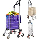 Portable Stair Climbing Cart with 8 Wheels, Heavy Duty Double Handle Rolling Grocery Laundry Utility Shopping Cart(Purple)