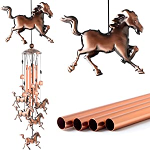 zhengshizuo Copper Horse Wind Chims Wind Catcher Gift for Mom Windchimes Outdoor Garden Gift Mom Birthday Gift Patio Yard Party Decoration Large deep Tone Music Wind Chimes Horse Wind Chimes Retro