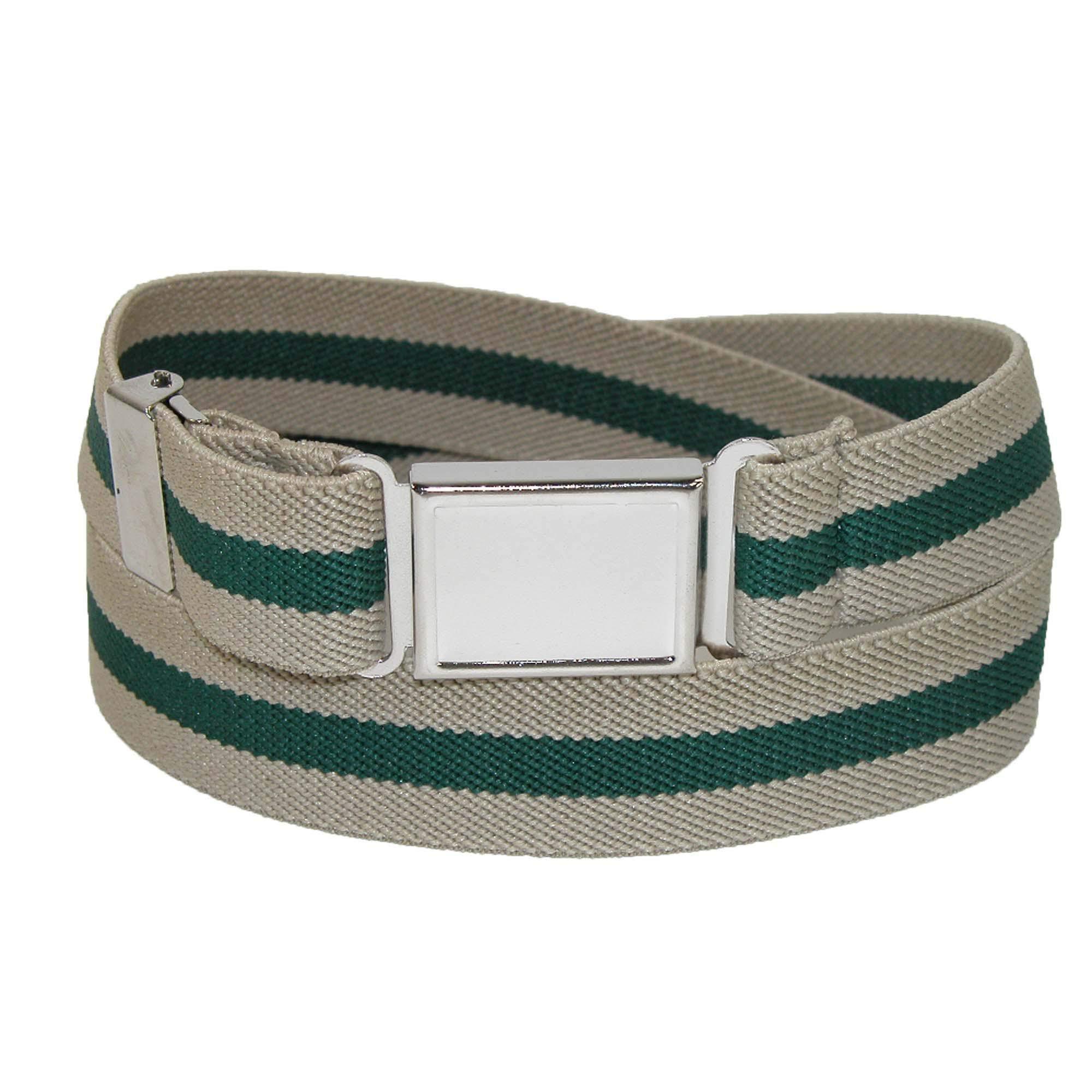 CTM Kids' Elastic Striped Belt with Magnetic Buckle, Khaki/Hunter/Khaki