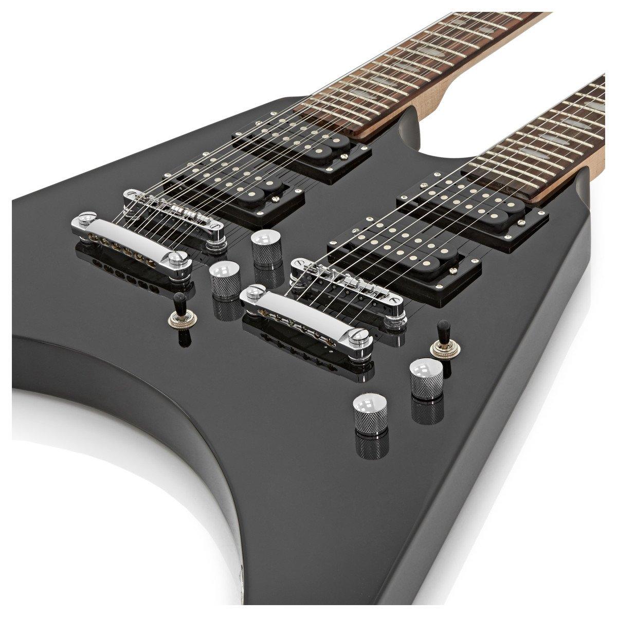 Guitarra Eléctrica Harlem V de Doble Mástil de Gear4music - Negro: Amazon.es: Instrumentos musicales
