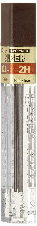 Pentel Hi-Polymer Lead, 0.3 mm, Extra Fine, 2H, Black (PEN3002H)