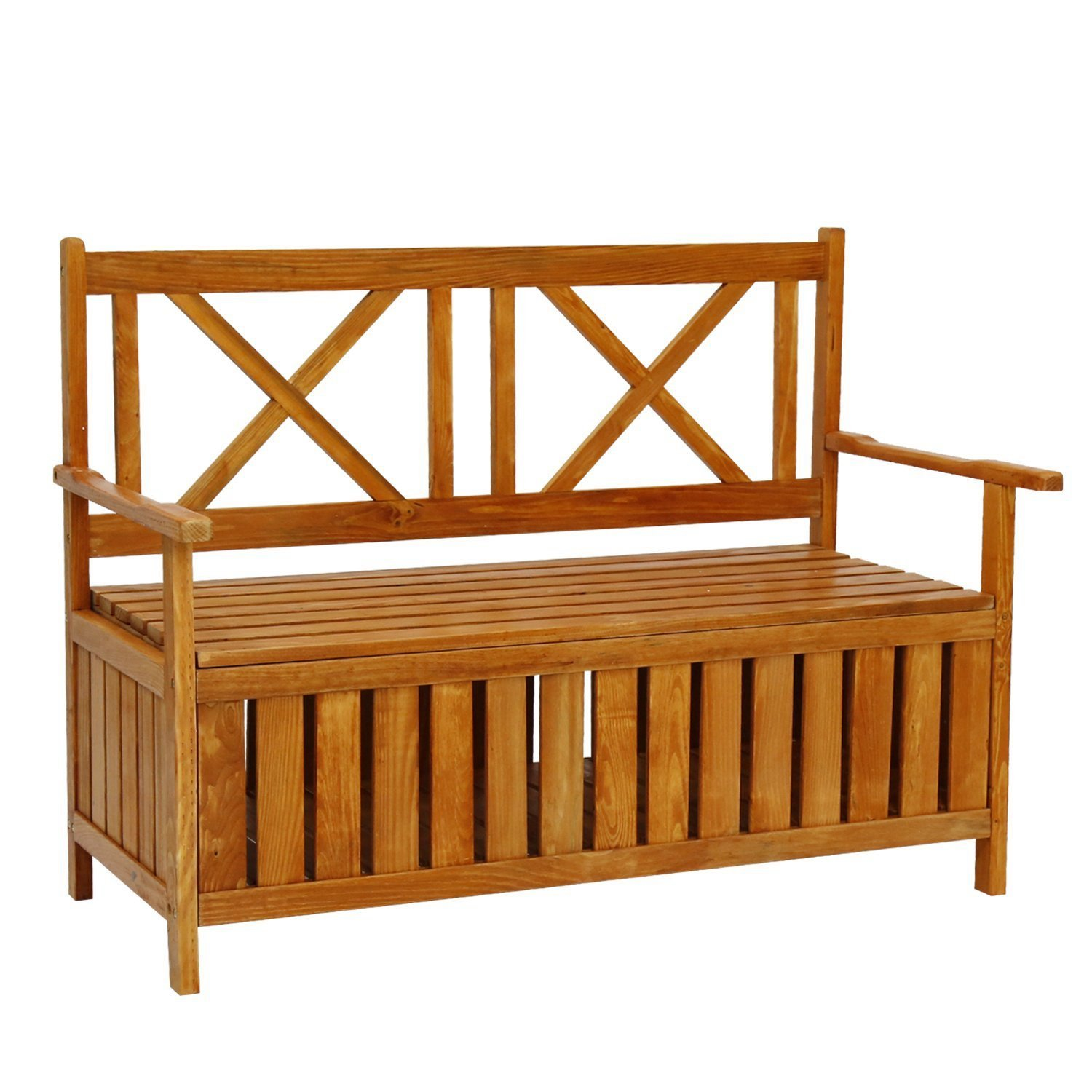ArmPro Weather Resistance Outdoor Patio Storage Bench Wooden Garden Deck Box