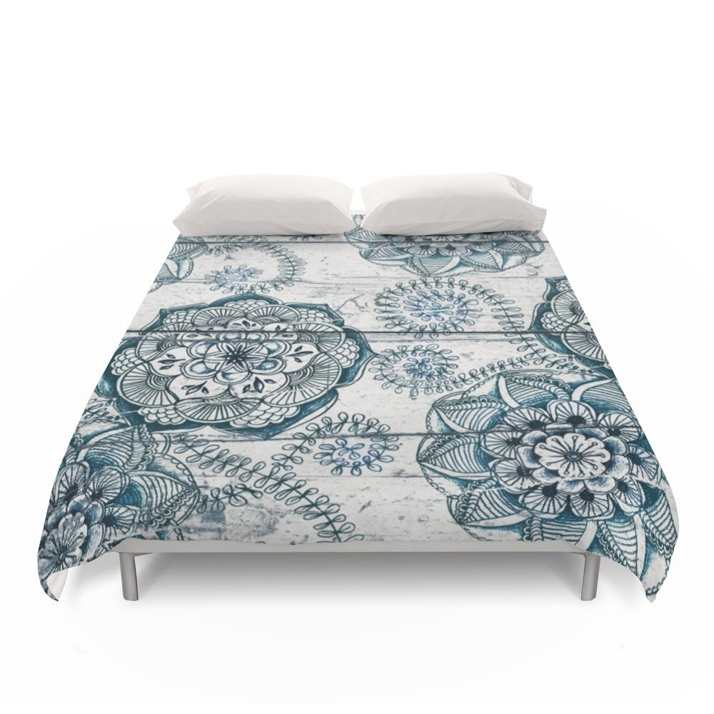 Society6 Navy Blue Floral Doodles On Wood Duvet Covers Full: 79'' x 79''