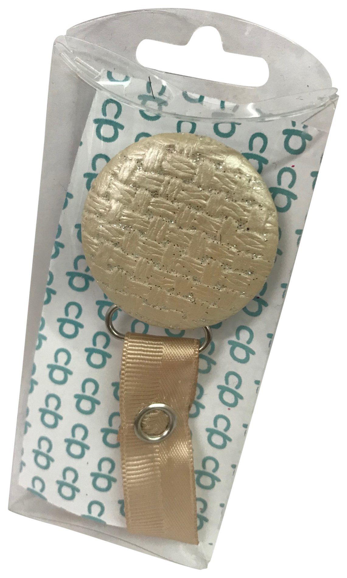 ClassyPaci Leather Weave Pacifier Clip, Beige by ClassyPaci