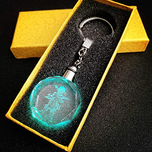 Dragon Ball Z Figure Super Saiyan Goku Crystal LED Pendant Key Chain