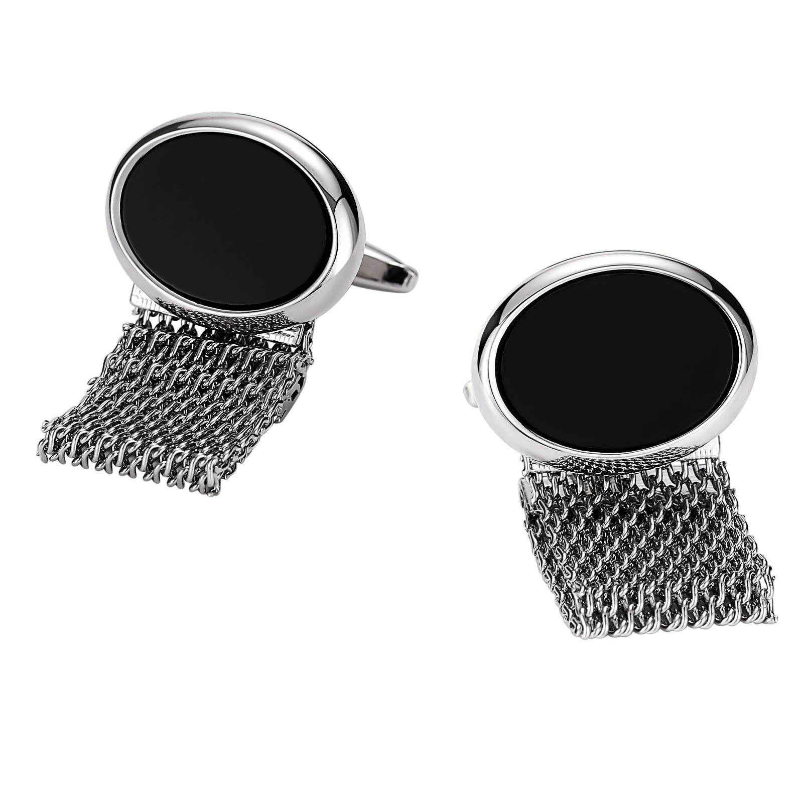 Aokarry Cufflinks Wedding-Men's Stainless Steel Oval with Hollow Chain Cuff Links Silver Black