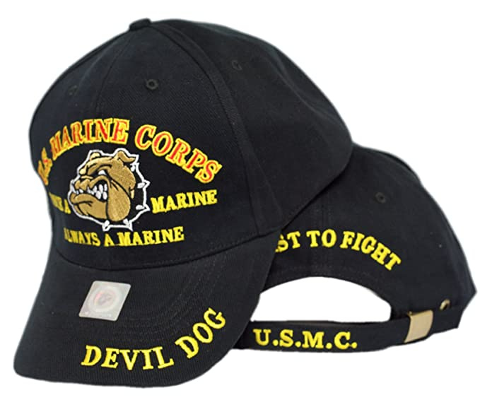 b7149e4110b80 Image Unavailable. Image not available for. Color  MWS Marines Once a Marine  Corps EGA Devil Dog First To Fight Embroidered Cap Hat
