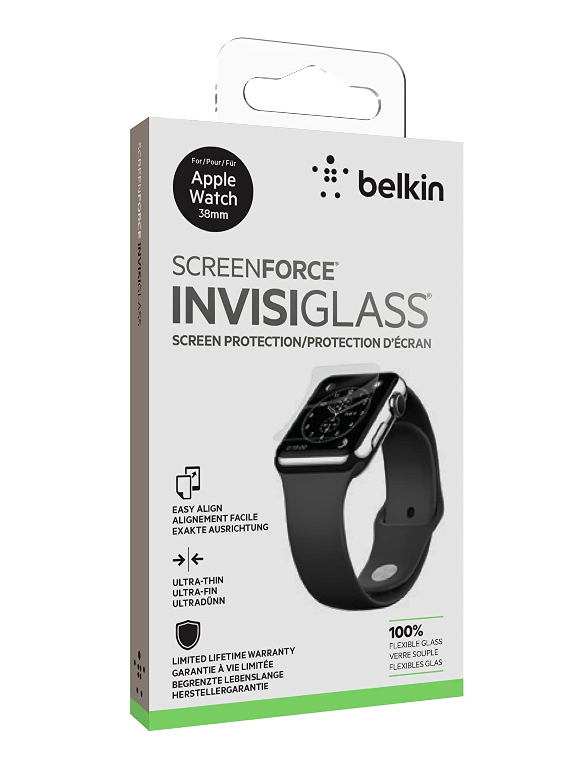 Belkin InvisiGlass 100% Real Glass Screen Protector for 42 mm Apple Watch  Series 1, Series 2 and Series 3, includes Easy Install Tray