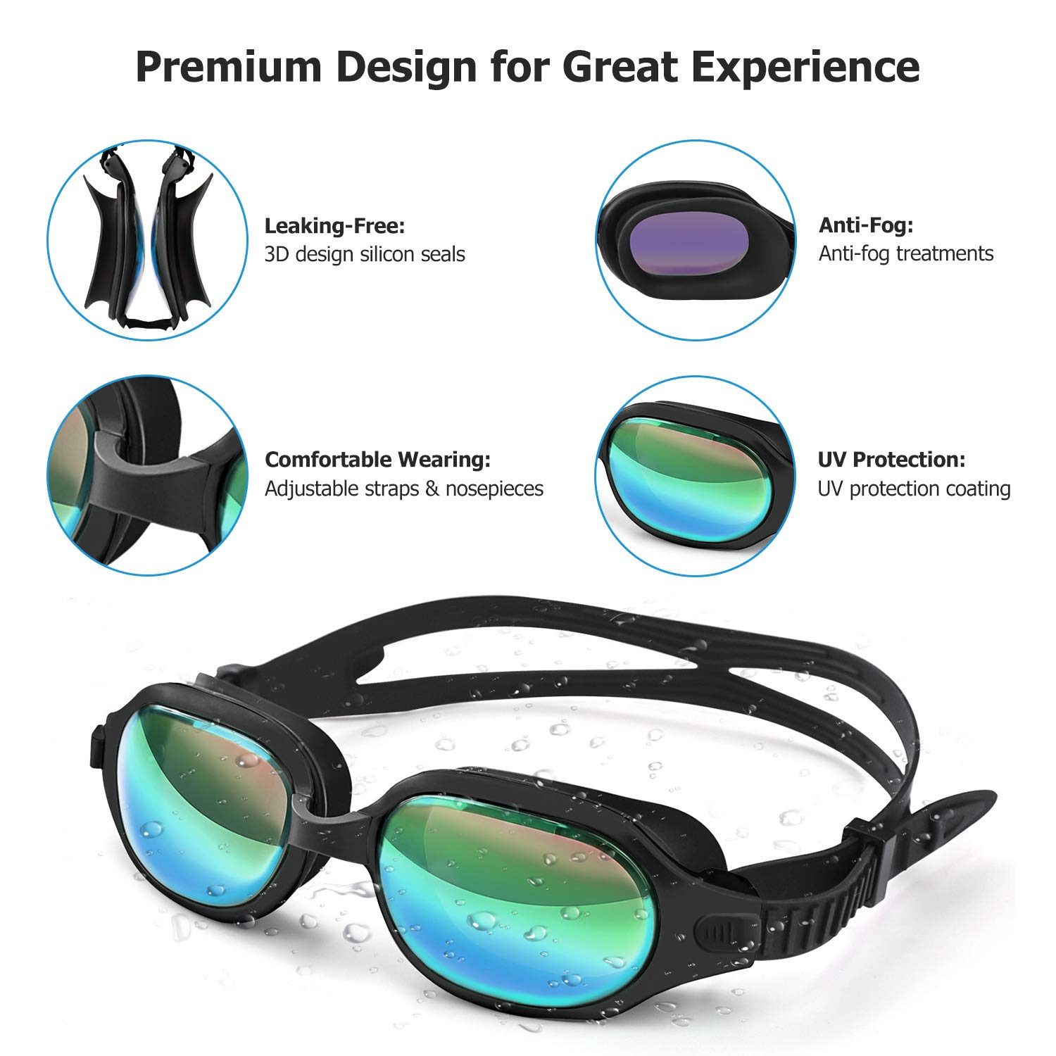 No Leaking Anti-Fog Indoor Outdoor Swimming Goggles with UV Protection Mirrored Lenses Letsfit Swim Goggles