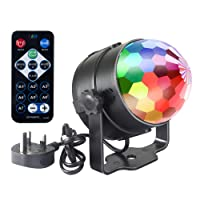 Emwel Mini Disco DJ Stage Lights 3W LED RGB Sound Actived Crystal Magic Rotating Glitter Ball Lights Effect For KTV Xmas Party, Color Changing Lighting Strobe Lights [with REMOTE and UK Plug]