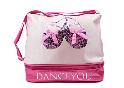 Image Unavailable. Image not available for. Color  DANCEYOU Professional  Girls Adjustable Zipped Dance Bag for Ballet Shoes 4ae063abfa330