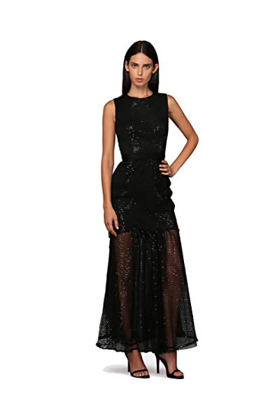 ROXCIIS Rebel Black Netted Lace Cocktail Gown Evening Dress Long Prom Gown