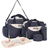 Diaper Bag Tote Set of 5, Baby Bags for Boy Girl Mom Dad, Nappy Changing Pad, Insulated Bottle Bag, Food Bag