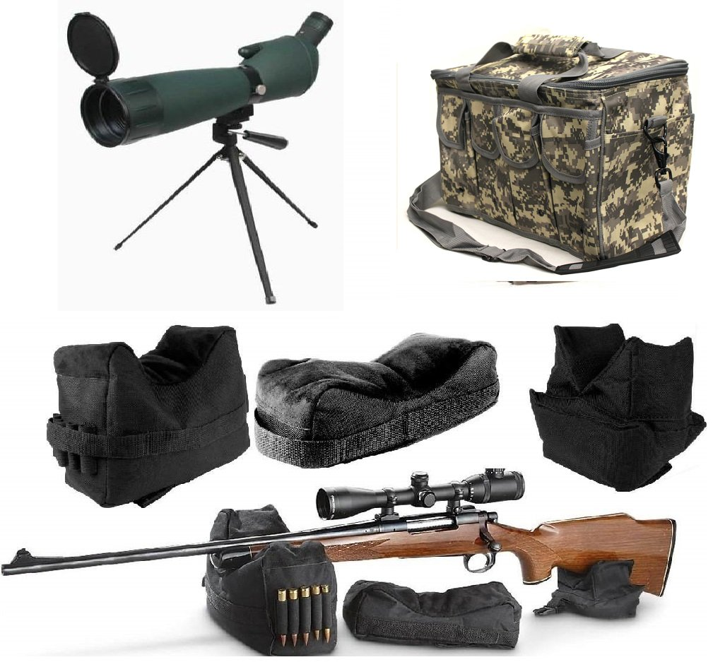 25-75x75 Rubber Armored Sniper Spotter Hunting Spotting Scope + Tripod + Shade + QD Shooting Rifle Shotgun & Muzzle Loader Steady Shooter Support Bag Set + ACU Camo Range Bag w/ Magazine Ammo Pouches by Ultimate Arms Gear