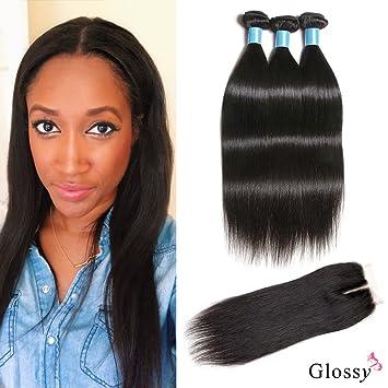 Amazon Com Glossy Brazilian Human Hair Extensions Straight