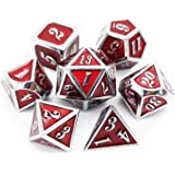 Haxtec 7PCS Red Metal Dice Set DND Dice D20 D12 D10 D8 D6 D4 for Dungeons and Dragons D&D RPG Table Games-Glossy Enamel Dice Dark Red