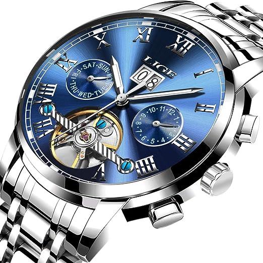 Relojes para Hombres,LIGE mecánico automático Relojes Acero Inoxidable Fecha Moda Casual tourbillon Esqueleto Relojes de Pulsera Azul Plateado: Amazon.es: ...