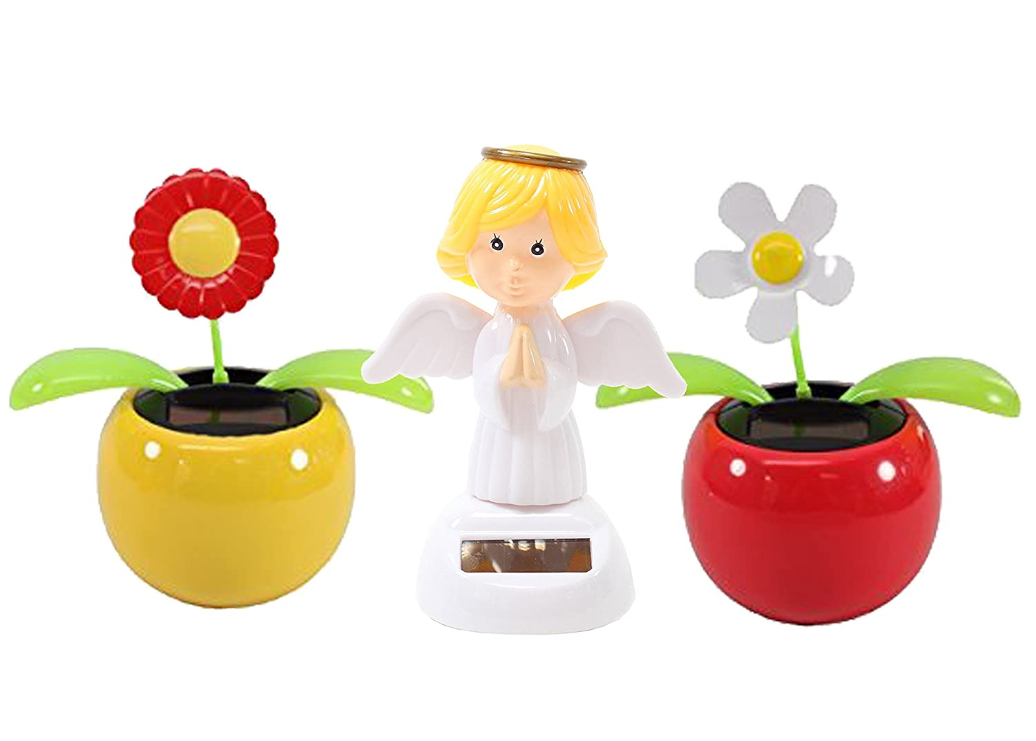 Dancing Flowers & Angel Solar Toys Combo ~ 1 Red Sunflower in Yellow Pot + 1 White Daisy in Red Pot + 1 Angel Solar Toy   B06X915J7B