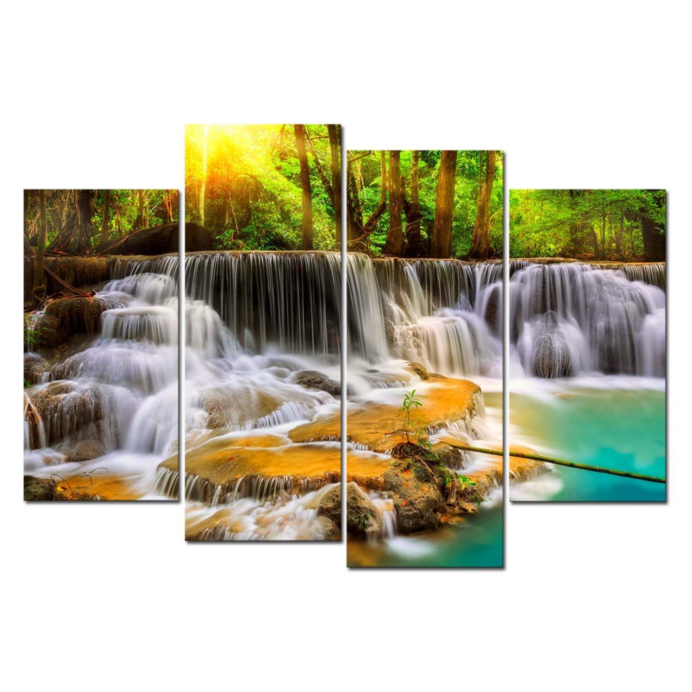 Cao Gen Decor Art-S48838 4 panels Wall Art Waterfall Painting on Canvas Stretched and Framed Canvas Paintings Ready to Hang for Home Decorations Wall Decor by Cao Gen Decor Art