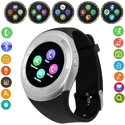 Yobeso Y1 Smart Watch Bluetooth SmartWatch con pantalla táctil Sports Fitness reloj de pulsera con tarjeta SIM y Cámara Ranura para tarjeta TF Mensaje ...