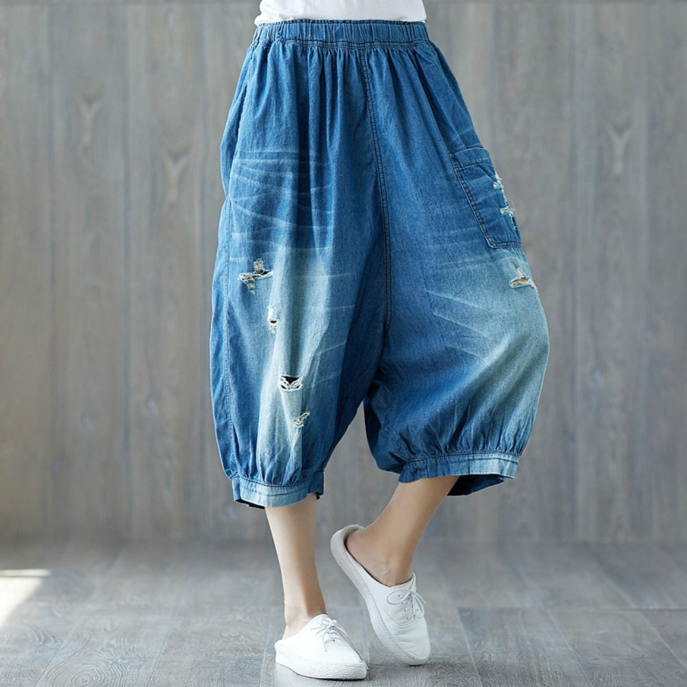 maydaiyar Ripped Jeans for Women Plus Size Capri Pants Women with Elastic Waist Holes Blue
