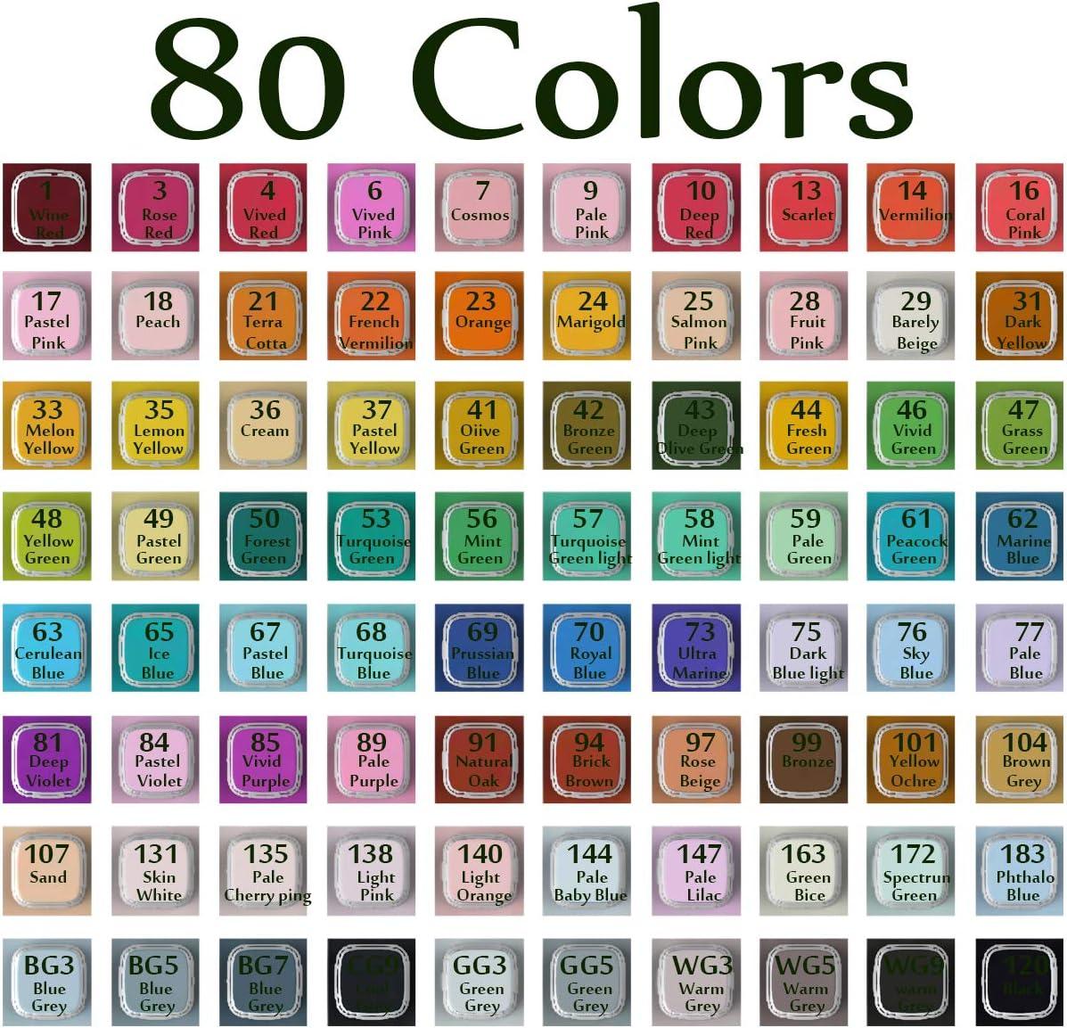 avec /étui de Voyage pour Dessin 40-80 Couleurs /à Double Pointe permanente DarkEagle Lot de marqueurs /à colorier pour Adultes avec Base Debout Croquis 40-Color coloriage Adulte et soulignement