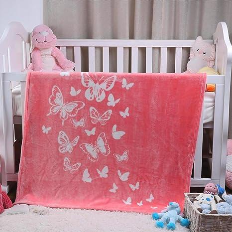 i-baby Manta Bebé Recién Nacido Mantas para Cuna Cama Infantil Manta Terciopelo Grande Para Niños Niñas 4 Estaciones 1 a 6 años (Mariposa Rosa, ...