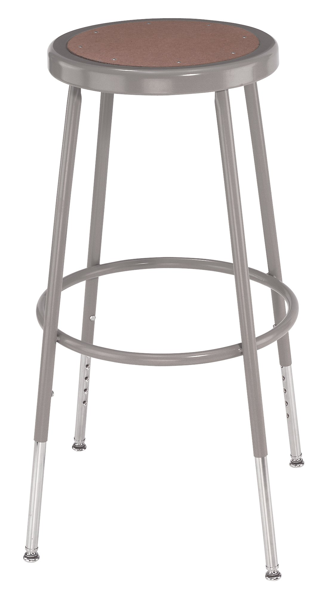 National Public Seating 6224H Steel Stool with Hardboard Seat Adjustable, 25''-33'', Grey